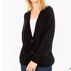 American Apparel Black Oversized Chunky Knit Cardigan Sweater